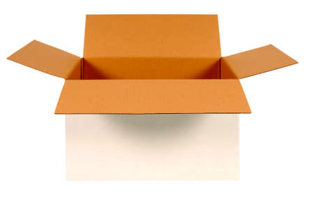front side: Open white cardboard box with brown inside isolated on white background.  Copy space. Stock Photo