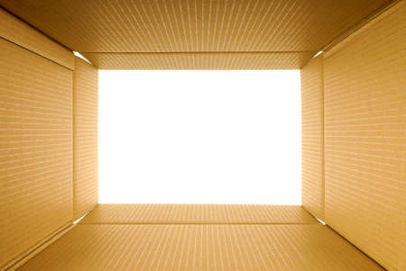 tunnel vision: Cardboard box frame view from inside, copy space Stock Photo