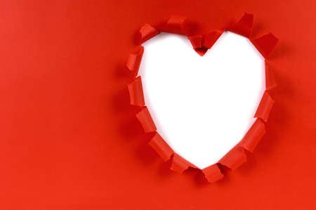 torn: Red valentine heart shape torn paper, white background, copy space Stock Photo