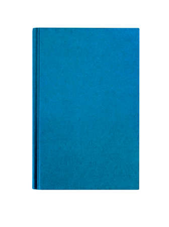 Light blue plain hardcover book front cover upright vertical isolated on white Stock Photo
