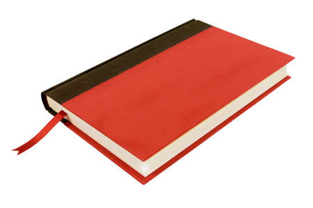 hardcover: Red hardcover book with bookmark top view isolated on white