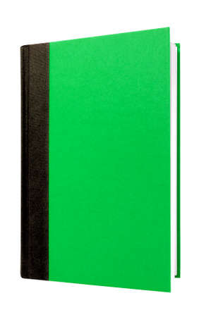 hardback: Bright green hardcover book front cover upright vertical isolated on white Stock Photo