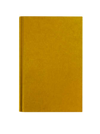 Manila yellow textbook front cover upright vertical isolated on white background, copy space Standard-Bild