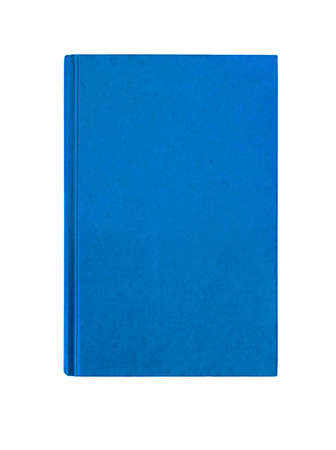 front view: Bright  blue plain hardcover book front cover upright vertical isolated on white Stock Photo