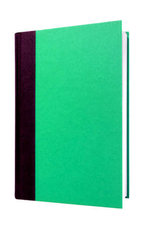 hardcover: Green hardcover book front cover upright vertical isolated on white