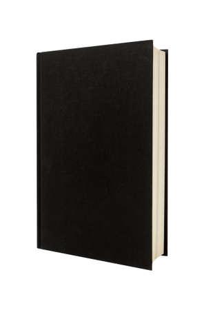 llanura: Libro de tapa dura negro liso o tapa frontal en posición vertical biblia vertical aislado en blanco