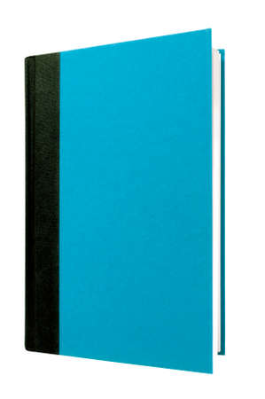 hardcover: Blue hardcover book black spine front cover upright vertical isolated on white