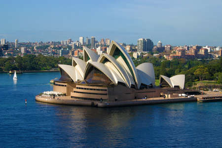 Sydney Opera House aerial view from harbour bridge