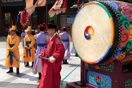 Seoul, South Korea, traditional changing of the royal guard drum ceremony