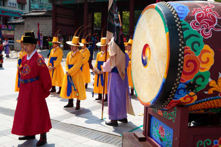 traditional costume: Seoul, South Korea, traditional changing of the royal guard drum ceremony