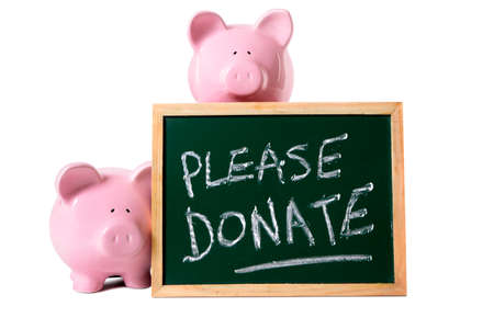 requesting: Two pink piggy banks charity fund donation box message, isolated on white background