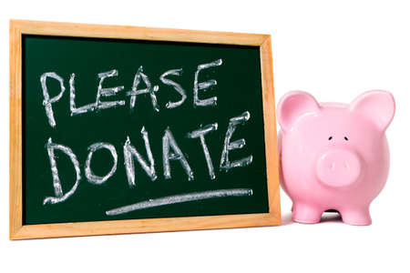 requesting: Charity donation box message, piggy bank with small blank blackboard, isolated on white background