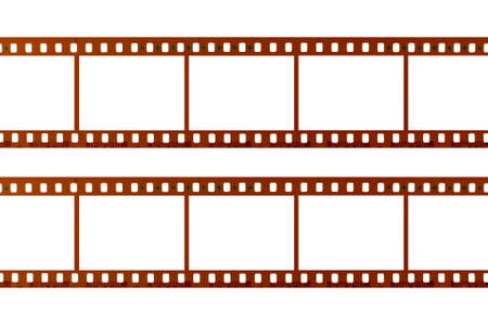 filmstrip: Two strips of 35mm film isolated on white background Stock Photo