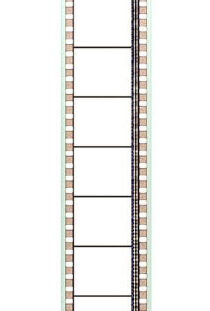 tira de película de cine de 35 mm con marcos banda sonora y en blanco Foto de archivo