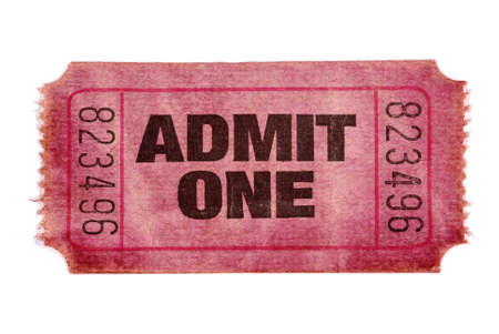 admit one: Old stained torn admit one ticket Stock Photo