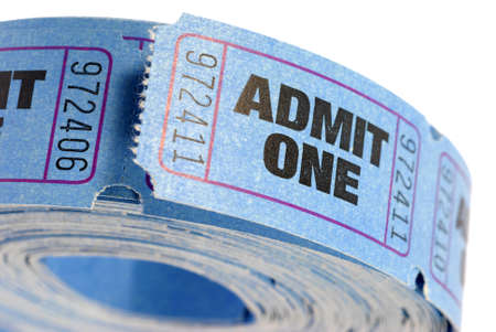 admit one: Roll of blue admit one tickets isolated on white background Stock Photo