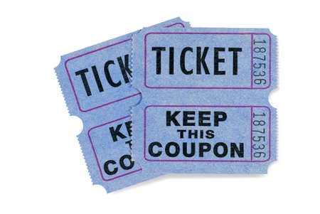 쿠폰이 첨부 된 블루 추첨권 티켓