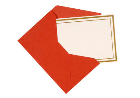 red envelope: Blank invitation or message card with red envelope