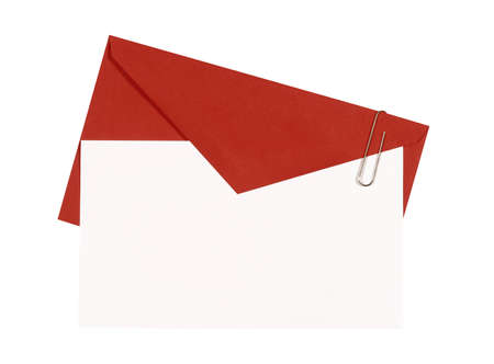 red envelope: Red envelope with blank invitation or greetings card, top view, copy space, isolated on white