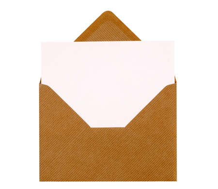 Brown manila envelope, blank letter or invitation card, copy space, isolated on white Foto de archivo