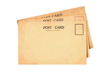 post cards: Old vintage post cards isolated on white Stock Photo