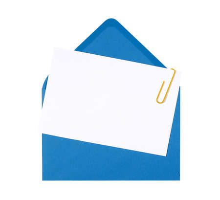 birthday invitation: Blank birthday invitation card with blue envelope and yellow paperclip, copy space Stock Photo