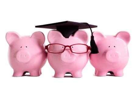 graduating seniors: College student graduate graduation concept, education success, teaching, graduating, piggybank with glasses
