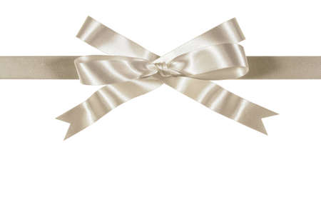 White or silver gift ribbon and bow straight horizontal isolated on white background Stock Photo