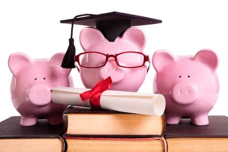 piggybank: College student graduate graduation concept, education success, teaching, graduating, piggybank with glasses