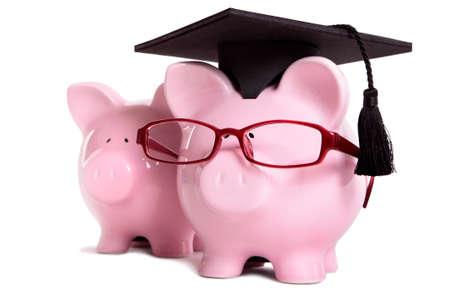 graduating seniors: Piggy bank college student graduate graduation concept, education success, teaching, graduating, piggybank with glasses