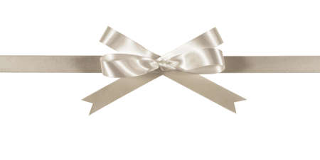 white ribbon: White or silver gift ribbon and bow straight horizontal isolated on white background Stock Photo
