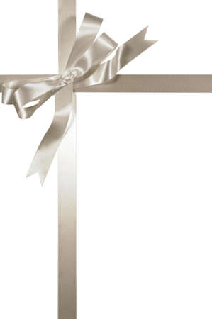 White or silver gift ribbon and bow vertical isolated on white background