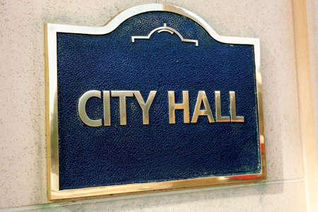 local government: City Hall sign close up