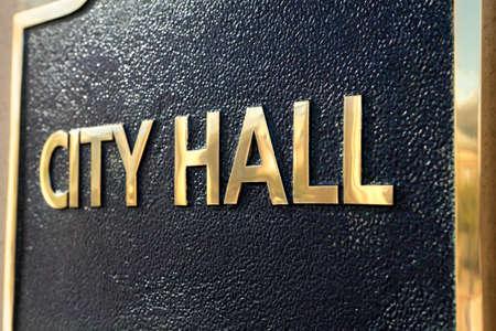 ortseingangsschild: City Hall Zeichen Nahaufnahme Lizenzfreie Bilder