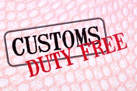 customs: Customs duty free stamps on passport paper.