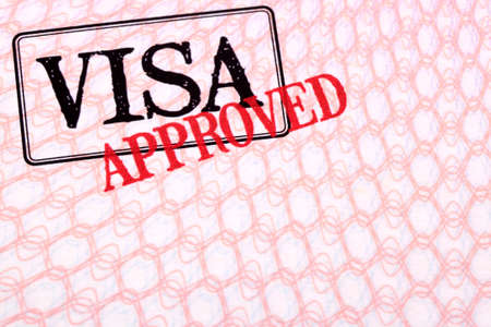 visa approved: Approved visa document stamp passport page, copy space