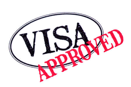 visa approved: Approved visa passport rubber stamp isolated on white background
