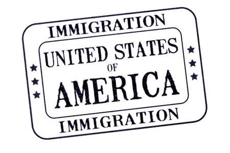 EE.UU. visa de inmigración documento sello aislado en el fondo blanco