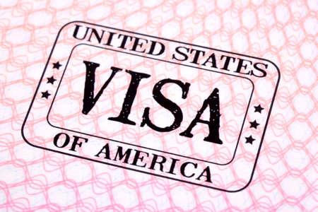 米国ビザ入国スタンプ パスポート ページ、クローズ アップ 写真素材