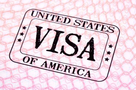 USA visa immigration stamp passport page, closeup