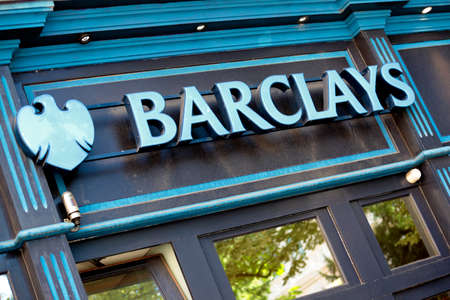 bank branch: Entrance facade and signage of a branch of Barclays Bank Editorial