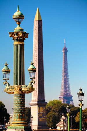 french renaissance: Place de la Concorde Paris France, eiffel tower, obelisk of luxor Stock Photo