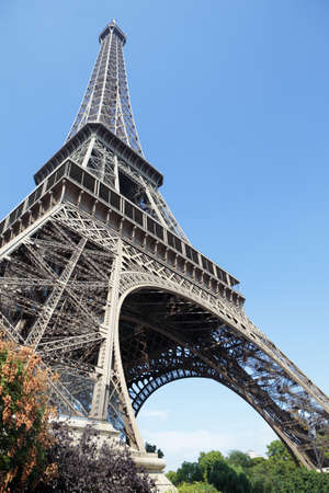 ''wide angle'': Eiffel Tower looking upwards wide angle view