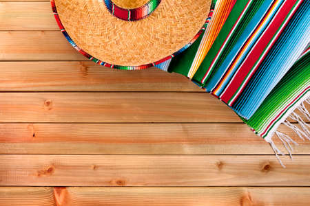 serape: Mexico cinco de mayo mexican sombrero fiesta background Stock Photo