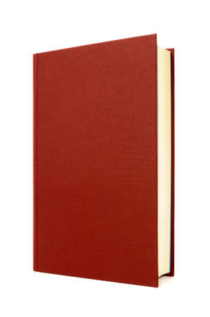 hardback: Red hardcover book front cover upright vertical isolated on white