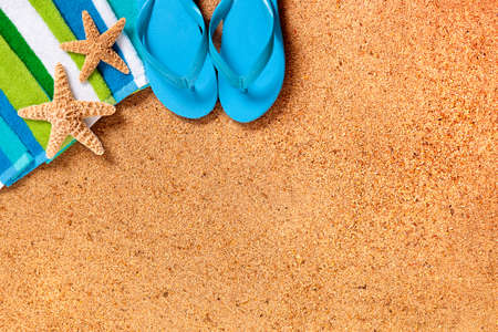 flops: Tropical summer beach background