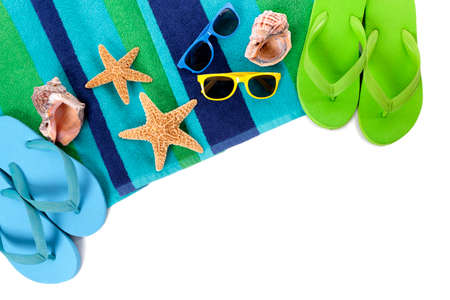 flipflops: Flip flops and summer beach objects isolated on white background