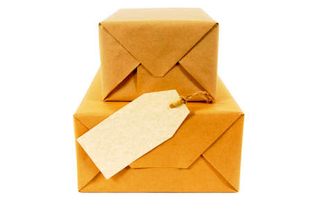Mail packages with label or gift tag