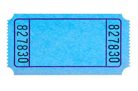 raffle ticket: Blank blue movie or raffle ticket isolated on white background.  Space for copy. Stock Photo