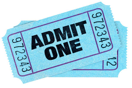 admit one: Two blue admit one movie tickets isolated on white background.